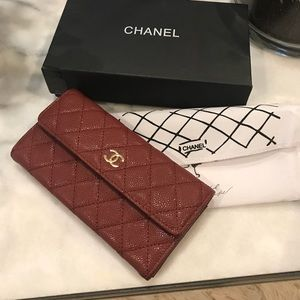 Chanel Red Caviar Quilted Continental Wallet